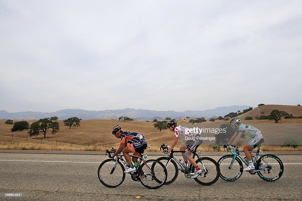 Chun Kai Feng of Chinese Taipei riding for Champion Systems, Carter Jones riding for Bissell Pro Cycling in the king of the mountains jersey and Thomas De Gendt of Belgium riding for Vacansoleil-DCM ride in the breakaway during Stage Five of the 2013 Amgen Tour of California from Santa Barbara to Avila Beach on May 16, 2013 in Santa Ynez, California.