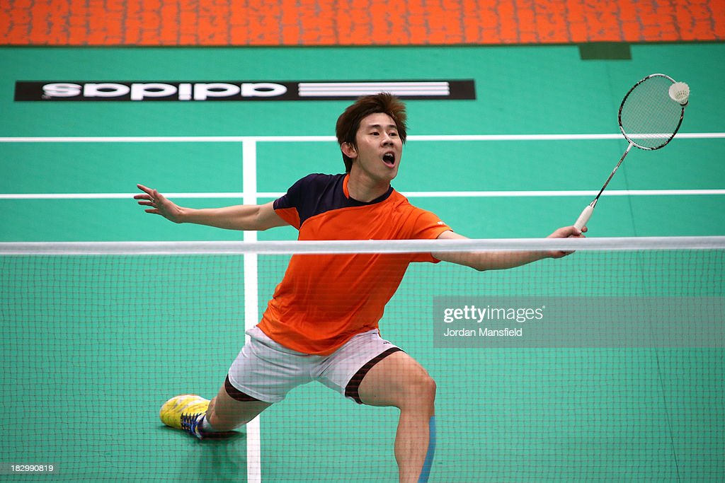 Chun Seang Tan of Malaysia in action during his mens singles match against Song Xue of China during Day 3 of the London Badminton Grand Prix at The Copper Box on October 3, 2013 in London, England.