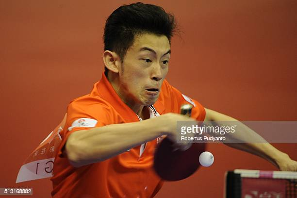 Chun Ting Wong of Hong Kong competes against Grigory Vlasov of Russia during the 2016 World Table Tennis Championship Men's Team Division Round 4...