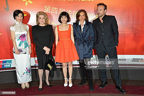 Chunde Yi Catherine Deneuve Xia Zitong Anne Fontaine and Vincent Perez attend the 4th Paris Chinese Film Festival Opening Ceremony at Cinema Gaumont...