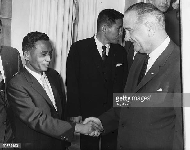 Chung Hee Park President of South Korea shaking hands with American President Lyndon B Johnson on a visit to the United States Washington D C May...