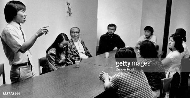 Chung Nguien a Vietnamese mental health clinician leads group therapy sessions for displaced Vietnamese ere he's talking with a group of boat people...
