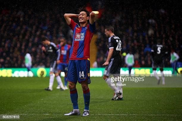 ChungYong Lee of Crystal Palace reacts during the Barclays Premier League match between Crystal Palace and Chelsea at Selhurst Park on January 3 2016...