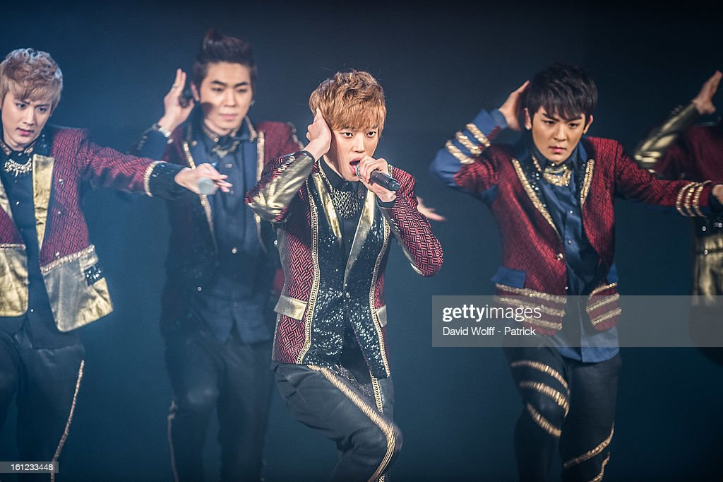 Chunji and Ricky from Teen Pop perform at Le Trianon on February 9, 2013 in Paris, France.