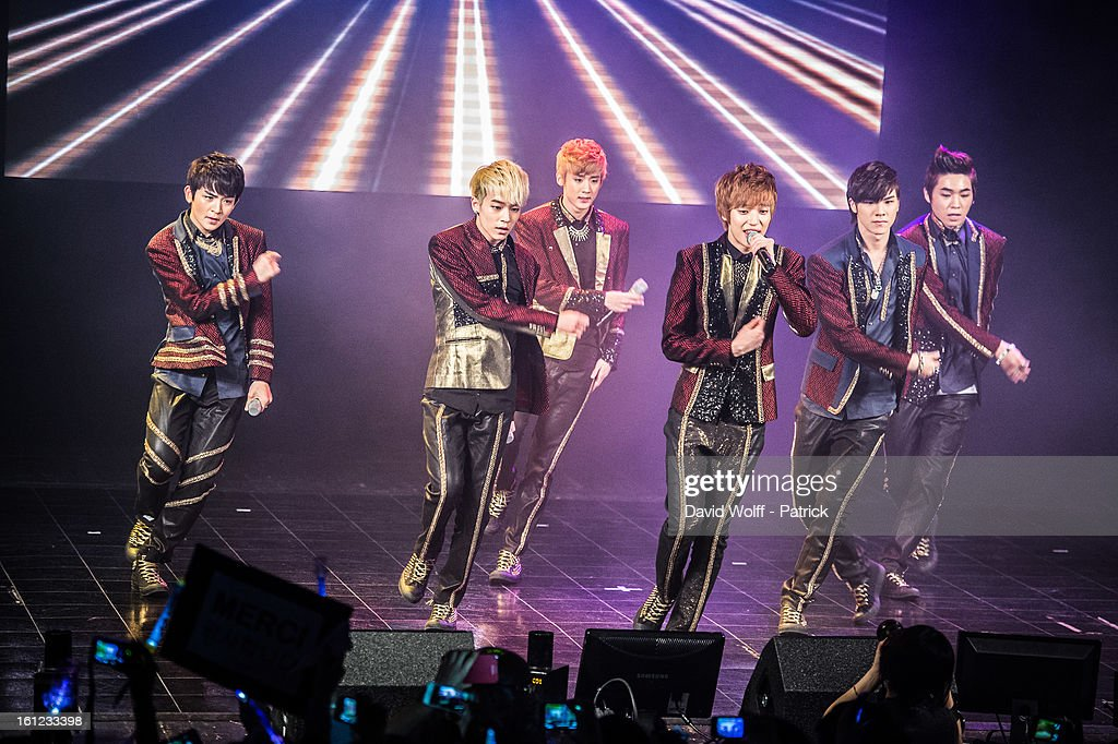 CAP, Chunji, L Joe, Niel, Ricky and Changjo from Teen Pop perform at Le Trianon on February 9, 2013 in Paris, France.