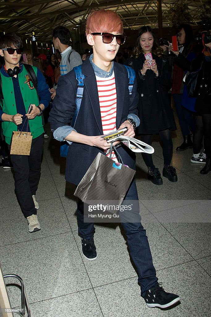 Chunji of South Korean boy band Teen Top is seen on departure at Incheon International Airport on March 15, 2013 in Incheon, South Korea.