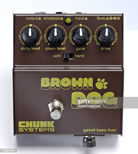 A Chunk Systems Brown Dog gated fuzz bass guitar effects pedal during a studio shoot for Guitarist Magazine March 10 2010