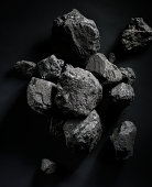 Chunks of Coal on Black Background