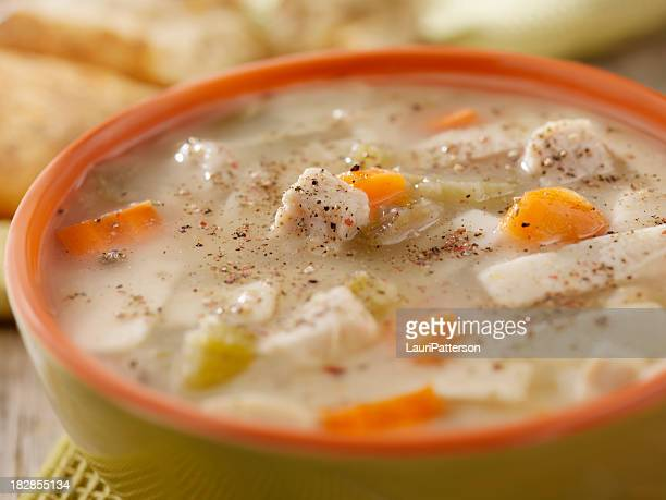 Chunky Chicken Noodle Soup with Crusty Bread-