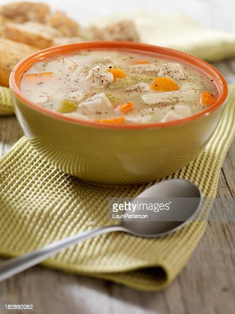 Chunky Chicken Noodle Soup with Crusty Bread