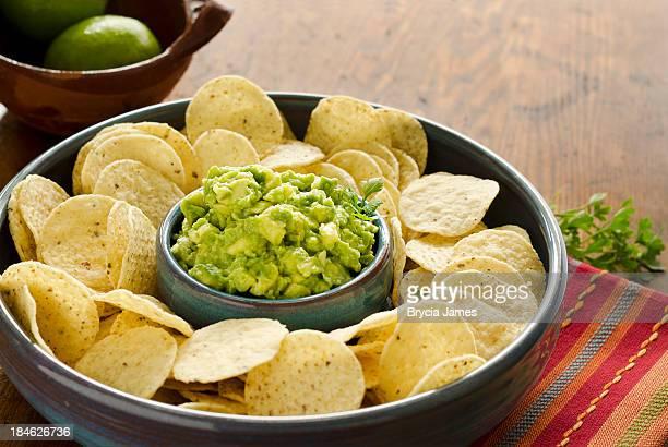 Chunky Guacamole and Corn Chips Horizontal