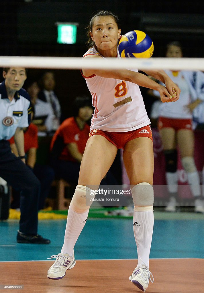 Chunlei Zeng of China receives the ball during the FIVB World Grand Prix Final group one match between Russia and China on August 24, 2014 in Tokyo, Japan.