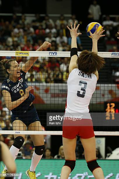 Chunlei Zeng of China spikes the ball in the match between Japan and China during the FIVB Women's Volleyball World Cup Japan 2015 at Nippon Gaishi...