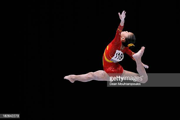 Chunsong Shang of China competes in the Womens Balance Beam Qualification on Day Three of the Artistic Gymnastics World Championships Belgium 2013...