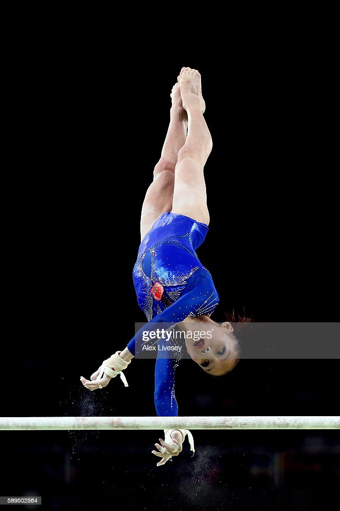 Chunsong Shang of China competes in the Women's Uneven Bars Final on Day 9 of the Rio 2016 Olympic Games at the Rio Olympic Arena on August 14, 2016 in Rio de Janeiro, Brazil.