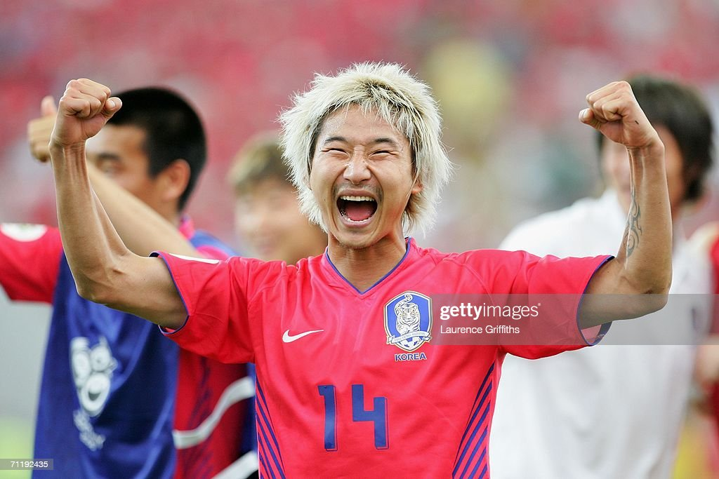 Chun-Soo Lee of South Korea celebrates after the FIFA World Cup Germany 2006 Group G match between South Korea and Togo which Korea won 1-0 at the Stadium Frankfurt on June 13, 2006 in Frankfurt, Germany.