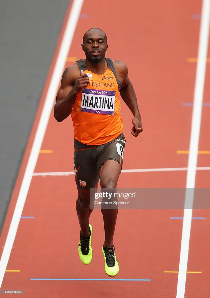 Churandy Martina of Netherlands competes in the Men's 200m Round 1 Heats on Day 11 of the London 2012 Olympic Games at Olympic Stadium on August 7...
