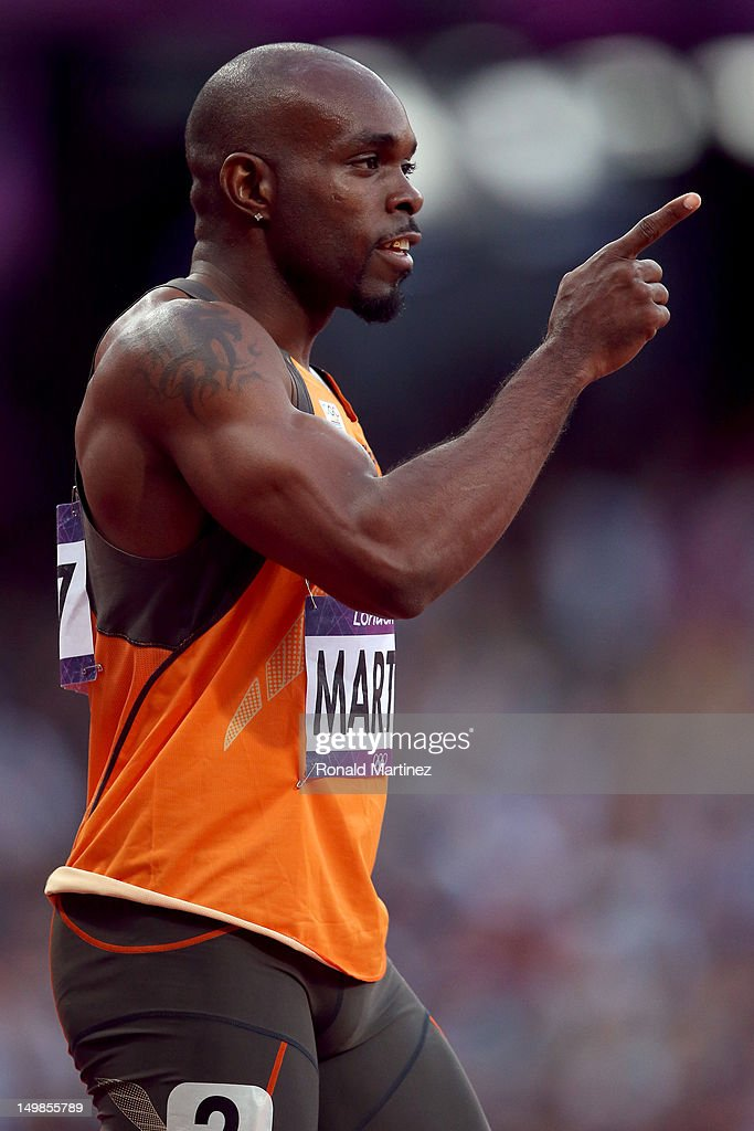 Churandy Martina of Netherlands looks on prior to the Men's 100m Semifinal on Day 9 of the London 2012 Olympic Games at the Olympic Stadium on August...