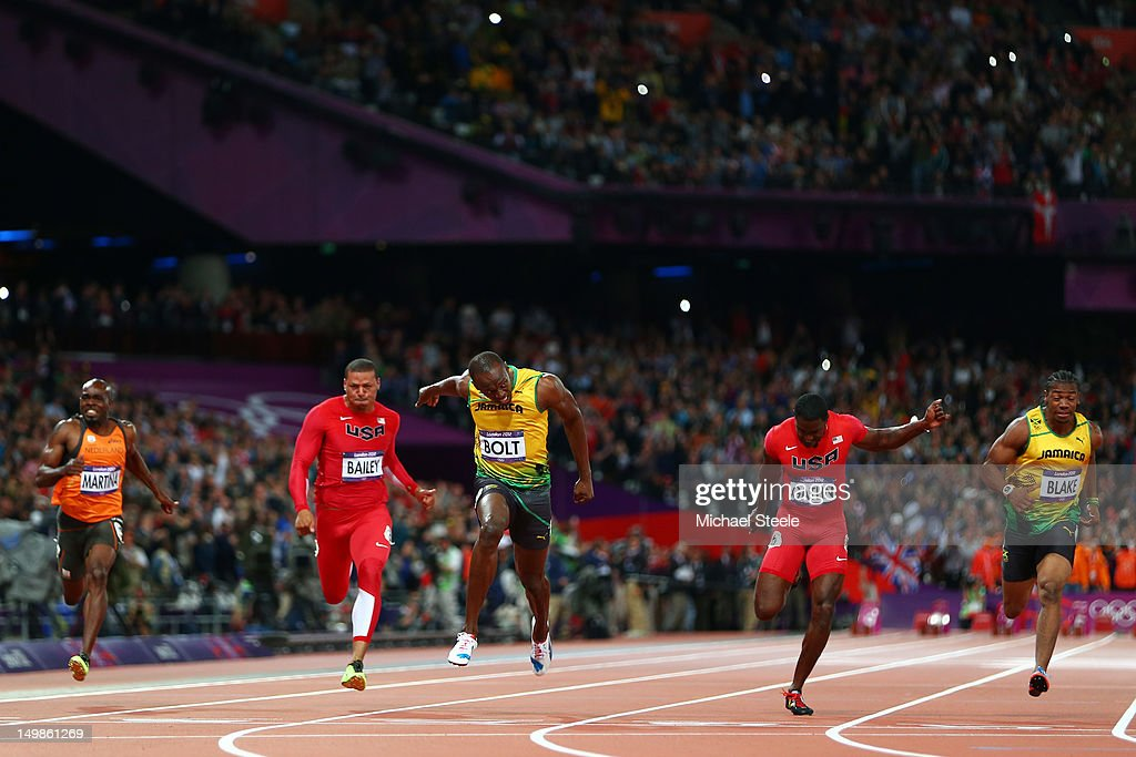 Churandy Martina of Netherlands Ryan Bailey of the United States Usain Bolt of Jamaica Justin Gatlin of the United States Yohan Blake of Jamaica in...