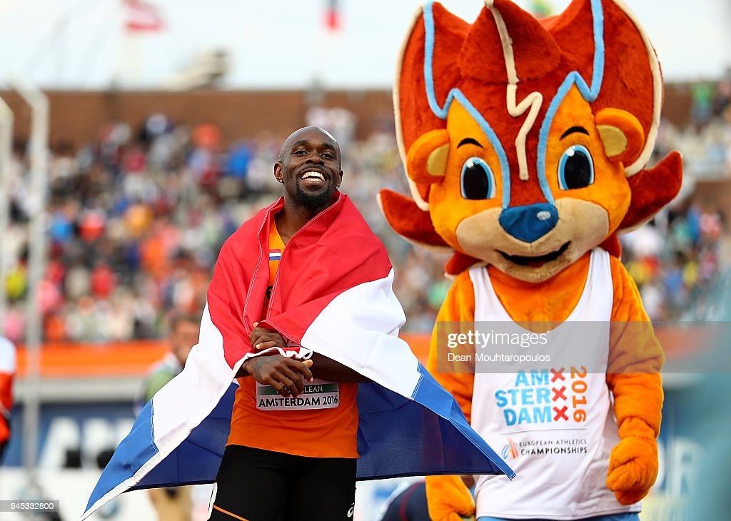 Churandy Martina of The Netherlands celebrates after winning gold in the final of the mens 100m on day two of The 23rd European Athletics...