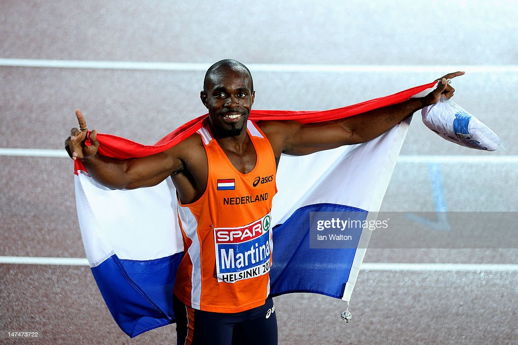 Churandy Martina of the Netherlands celebrates winning gold in the Men's 200 Metres Final during day four of the 21st European Athletics...
