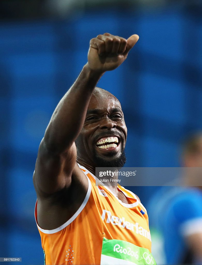 Churandy Martina of the Netherlands getsures after the Men's 200m Semifinals on Day 12 of the Rio 2016 Olympic Games at the Olympic Stadium on August...