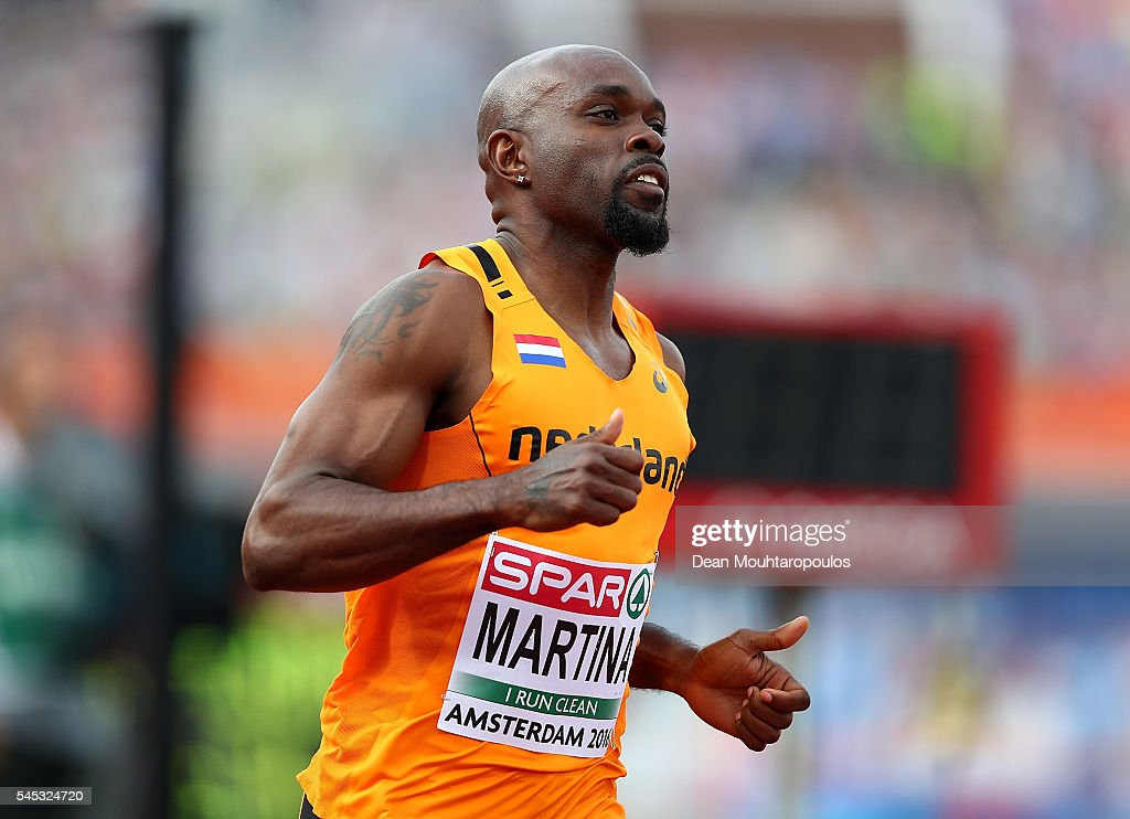 Churandy Martina of The Netherlands in action during his 100m semi final on day two of The 23rd European Athletics Championships at Olympic Stadium...