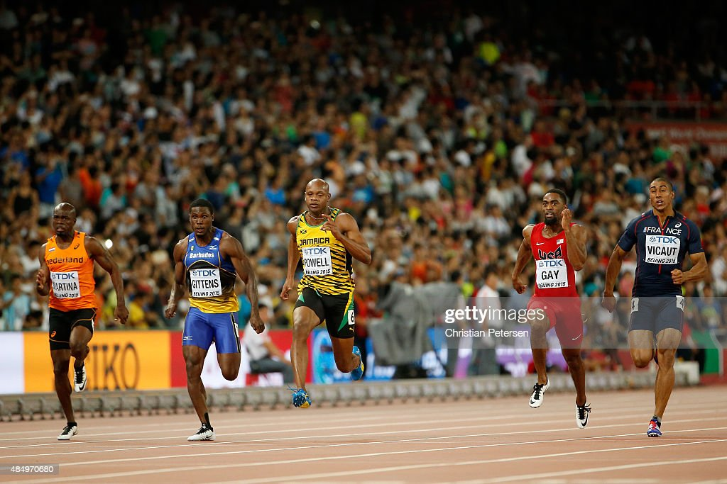 Churandy Martina of the Netherlands Ramon Gittens of Barbados Asafa Powell of Jamaica Tyson Gay of the United States and Jimmy Vicaut of France...