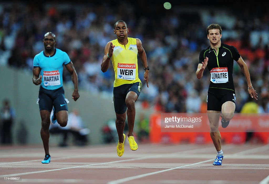 Churandy Martina of the Netherlands, Warren Weir of Jamaica and Christophe Lemaitre of France compete in the Men's 200m on day one during the Sainsbury's Anniversary Games - IAAF Diamond League 2013 at The Queen Elizabeth Olympic Park on July 26, 2013 in London, England.
