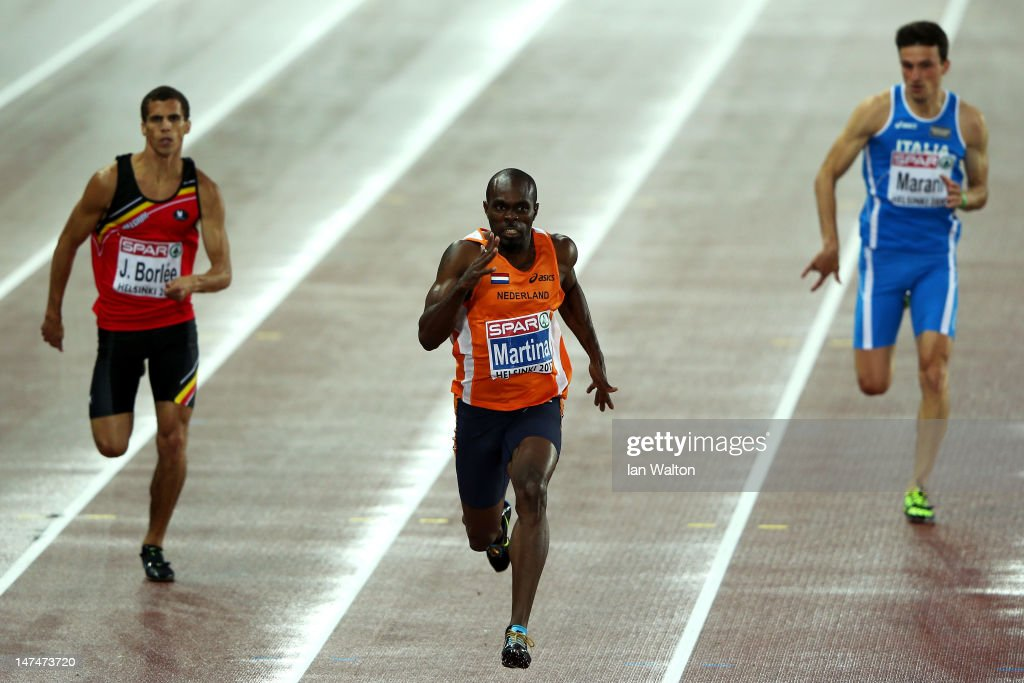 Churandy Martina of the Netherlands wins gold in the Men's 200 Metres Final during day four of the 21st European Athletics Championships at the...