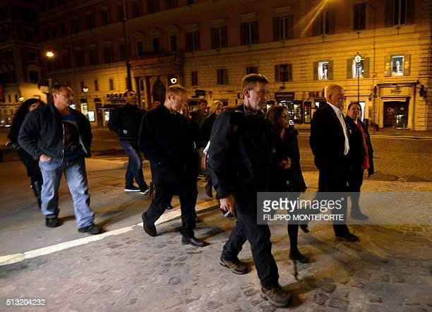Church abuse victims arrive at the Quirinale hotel in Rome on March 1 2016 to witness Cardinal George Pell's commission appearance Evidence is...