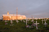 Church and burial ground Shishmaref Alaska This Inuit community is threatened by Global Warming as their island is washed into the sea Recently they...