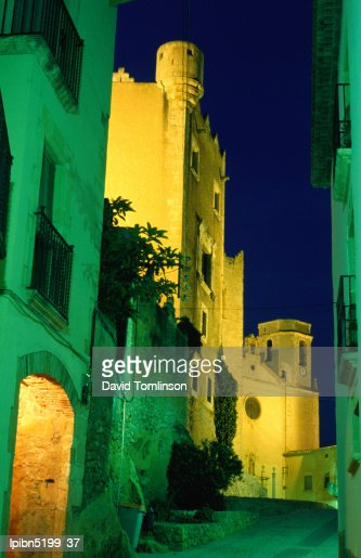 Church and castle of Sant Marti illuminated at night, Altafulla., Tarragona, Catalonia, Spain, Europe