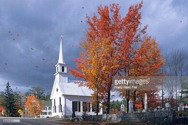 Church and trees in a storm, South Hiram