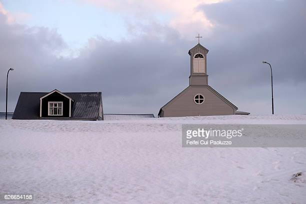 Church at city of Stykkisholmur in the Western Region in Iceland