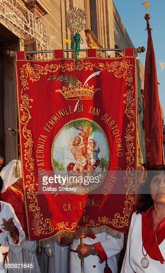 Church banner at the Festival of San Bartolomeo : Stock Photo