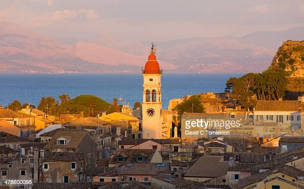 Church bell-tower at sunset, Corfu