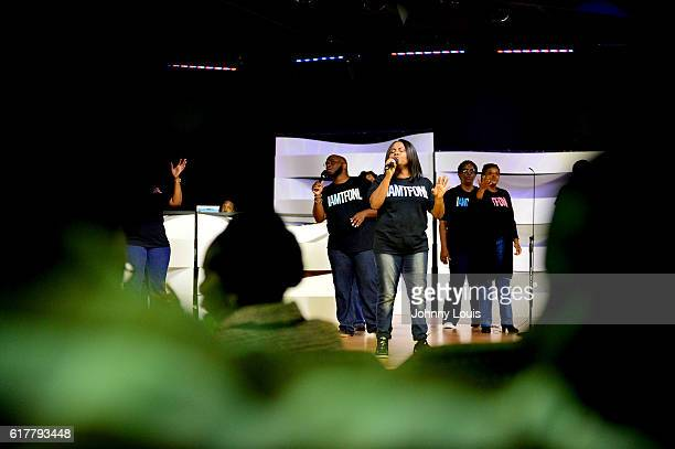 Church choir performs before Former US President Bill Clinton arrives at The Fountain of New Life Church on Sunday October 23 2016 in Miami Gardens...