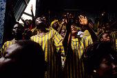 Church choir sing during service in Kinshasa, Congo