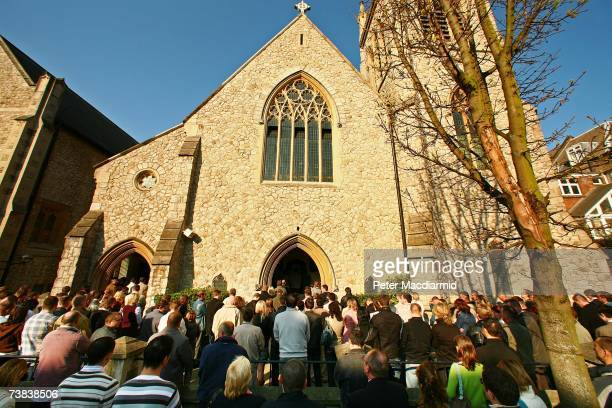 Church goers from the Polish community pray in the street during an Easter Sunday mass at the 'Our Lady Mother of The Church' on April 8 2007 in...