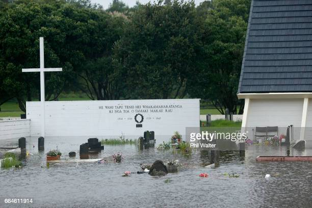 A church in Okahu Bay is surrounded by water on April 05 2017 in Auckland New Zealand Torrential rain has hit the North Island as the remants of...