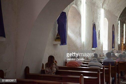 Church interior during mass, rural Mexico