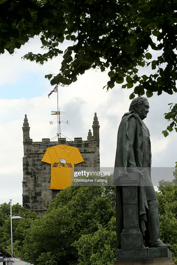 A church is adorned with a giant yellow jersey in Ilkley Yorkshire prepares to host the Tour de France Grand Depart, on June 24, 2014 in Ilkley, United Kingdom. The people of Yorkshire are preparing to give the riders of the 2014 Tour de France a grand welcome as the route of stages one and two are decorated with bunting, bikes and yellow jerseys The Grand Depart of the 2014 Tour De France is taking place in Leeds with the first two stages taking place across Yorkshire on 6th and 7th of July.