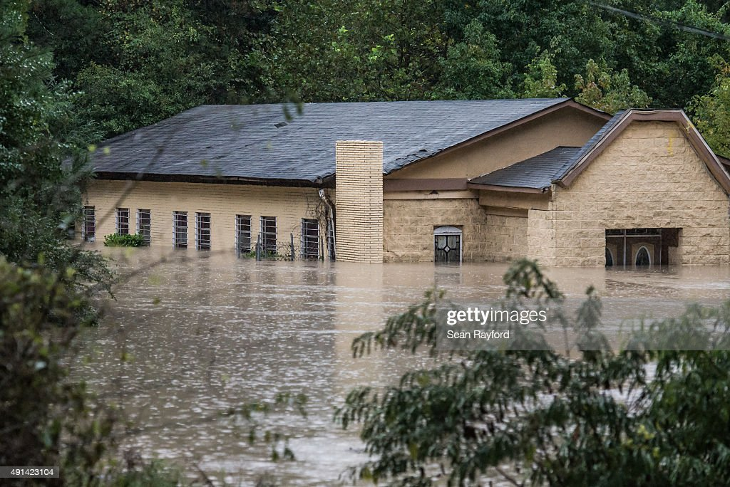 A church is surrounded by flood waters following flooding in the area October 5 2015 in Columbia South Carolina The state of South Carolina...