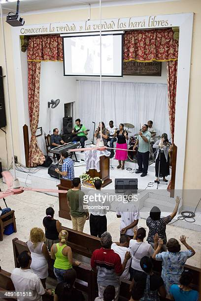 Church members standing during service at the Evangelical Pentecostal Assembly of God Church in Havana Cuba on Friday Sept 18 2015 Cuba which hosts a...