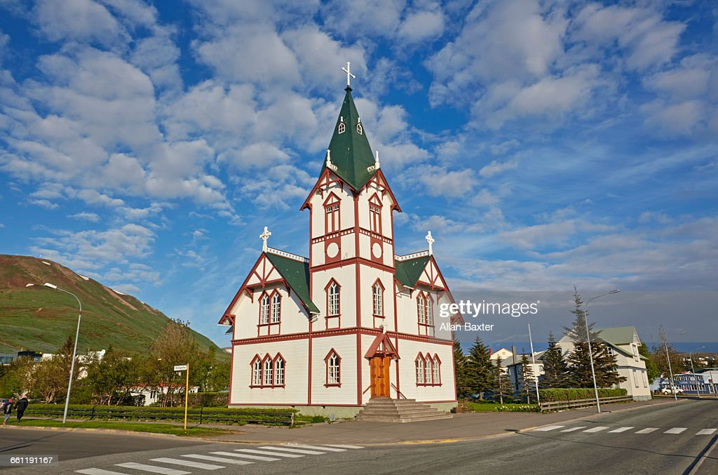 Church of Husavik against blue skies