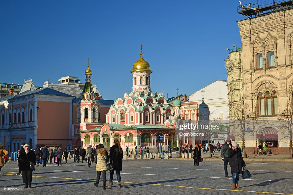Church of  Kazan Icon  Mother of God on Red Square. : Stock Photo