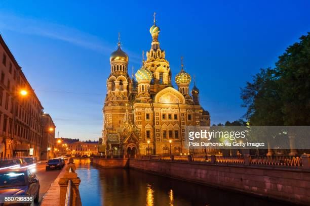 Church of Our Savior on Spilled Blood at night in St. Petersburg, Russia.