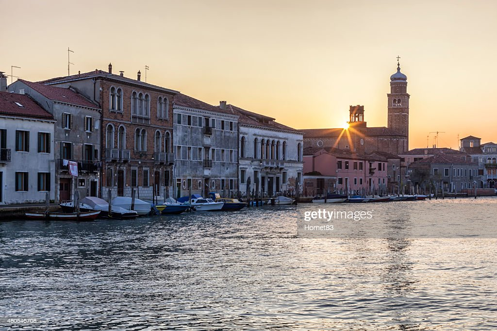 Church of San Pietro Martire in Murano at sunset : Stock Photo