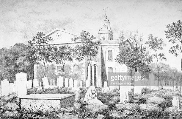 Church of St John at Hackney London c1820 View with a seated woman holding a baby in the foreground of the graveyard